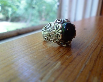 Sterling Silver Butterfly Ring with Black Stone