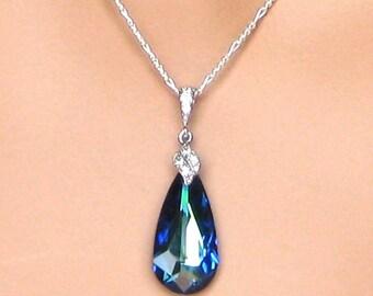 15% OFF SET OF 4 - Bermuda Blue Wedding Necklace, Blue Crystal Drop Bridal Necklace, Bridesmaids Necklace