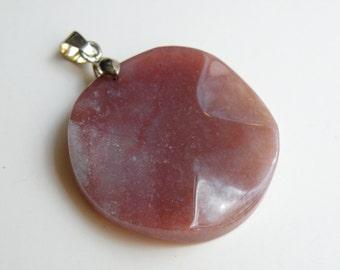 1 Fancy Jasper Pendant round wavy natural gemstone 35mm 733421595090