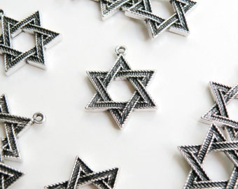 5 Large Star of David charms antique silver 6 pointed star hexagram 30x23mm DB14878