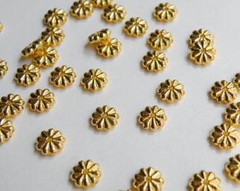 25 Adorable flower rondelle bead spacers shiny gold plated 7x2mm 1572BB