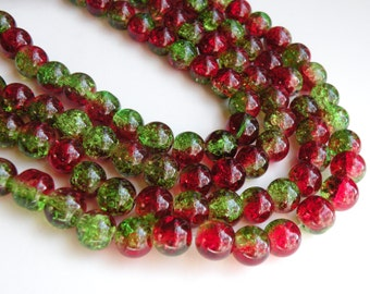 Christmas Red & Green Crackle Glass beads round 10mm Kwanzaa full strand DB16803