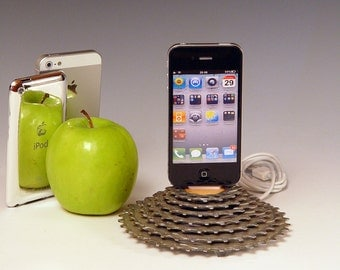 Docking stations and chargers. iPhone 6 dock, iPod dock. recycled bike gear and oak. A unique gift for a cyclist. (572)