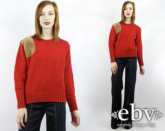 Vintage 90s Red Wool Sweater Vintage Sweater Vintage Jumper Vintage Pullover Red Sweater Vintage Knit Red Wool Jumper Leather Sweater