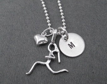 I LOVE to RUN Initial Necklace - 16, 18 or 20 inch Sterling Silver Ball Chain - Choose Initial - Initial Running Necklace - Personal Runner
