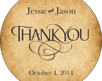 Thank You Wedding Stickers Personalized with your text and colors -  Compare and Save
