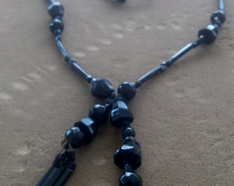 Jet Necklace with 2 and 3 inch Dangles