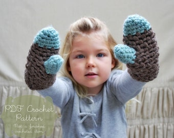 Crochet Pattern: The Kieran Mittens -Toddler, Child, & Adult Sizes- chunky, winter, wool, color block