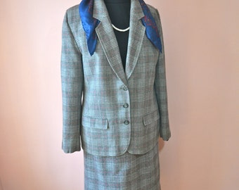 Vintage 70's Pendleton Plaid Fully Lined Wool Suit - Blazer Skirt Pants Modern Size 16 - 18 - VDS71