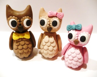Owl Family Of Three - Choose Your Colors And Accessories