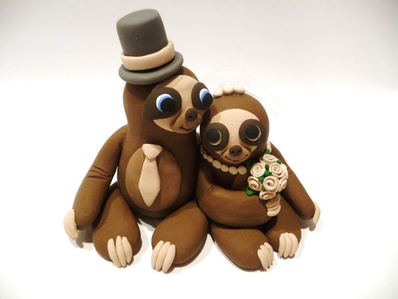 sloth wedding cake topper sloth wedding cake topper choose your colors by topofthecake 20197