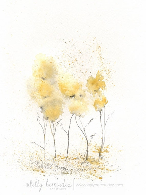 Fields of Love / watercolor print / grey and yellow / gray and yellow / Archival Print
