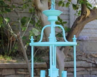 Vintage hanging Lantern Chandelier Fixture Painted Lady Blue By Foo Foo La La