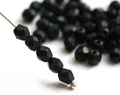 4mm Czech glass beads - Matte Jet Black fire polished spacers, back round  beads - 50Pc - 1044