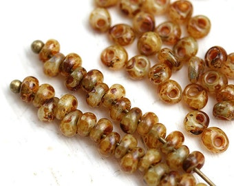 Seed beads, Toho Magatama, size 3/0, Opal Picasso, hybrid, Y308, beige glass beads - 10g - S128