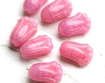 Tulip beads, Czech glass, pink flowers, floral beads, pressed beads, Pink tulip - 20Pc - 1174