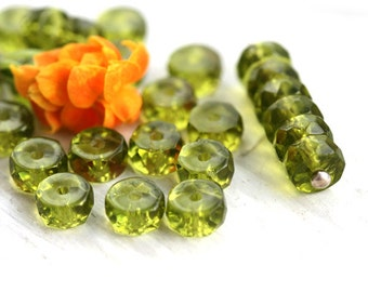 Olivine Rondelle beads, olive green fire polished czech glass spacers - 6x3mm - 25Pc - 1062