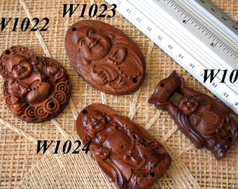 Natural Fragrant Rosewood Carved Happy Buddha Bead (For Pendant or Charm)