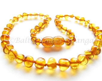Baltic Amber Teething Necklace, Rounded Cognac Color Beads