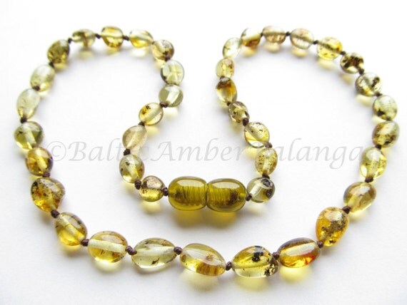Baltic Amber Baby Teething Neklace Green Color Olive Form Beads
