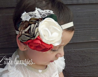 Fille En Or (Golden Girl) -Gold Silk, Pumpkin, and Cream Satin Flower Headband with lace, french Netting, and Emerald leaves M2M Persnickety