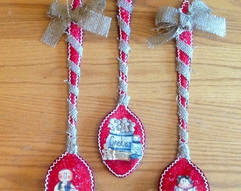 Gingerbread Metal Spoons Set Three.Gingerbread Decor.Ginger Kitchen.Country Kitchen.Country Home.Housewarming Gift.Home Decor. Wall Decor