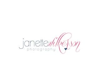 Custom Logo Premade Logo Designs and Watermark for Photographers and Small Crafty Shops Print and Script Text with Heart