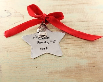 Personalized Ornament Family Christmas Ornament Hand Stamped