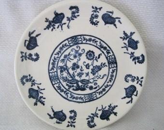 Vintage Scio USA Blue Onion Bread & Butter Plates (3)