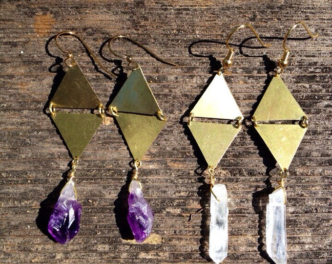 Triangle Geometry Raw Stone Earrings - Gift Boxed
