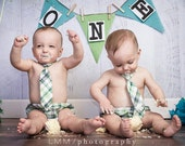 Baby Boy Outfit, First Birthday Clothing,  Baby Boy Gift, Baby Boy Shower Present, Green and Navy Plaid, Baby Wedding Outfit