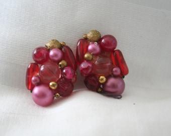 Violet Purple Beaded Earrings Marked Karu