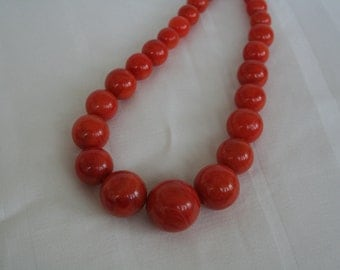 Burnt Orange Graduated Bead Necklace