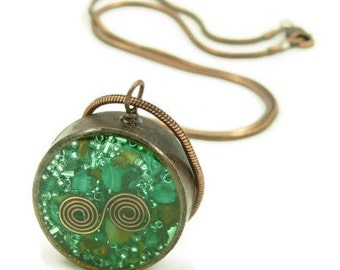 Orgone Energy Pendant - Mens Necklace - Malachite - Copper - Recycled - Reclaimed - Eco Friendly Jewelry - Unisex Necklace - Artisan Jewelr