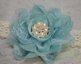 Aqua Lace Headband...Baby Girl Headband...Flower Headband...Photography Prop...Frayed Chiffon Lace...Newborn
