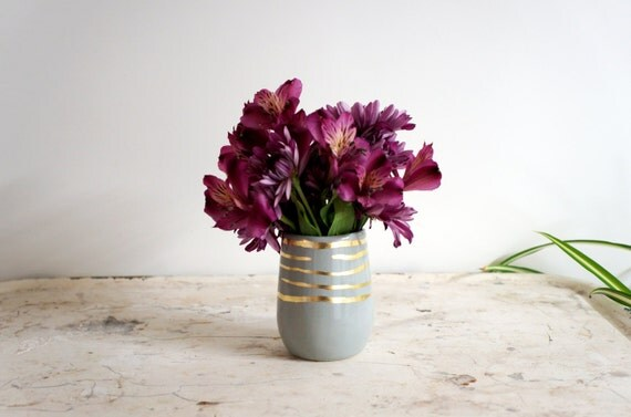 RESERVED for Charlotte gray cylinder vase with gold stripes