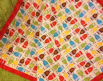 "Owls, Polka Dots and Circles In This 40"" X 40"" Give A Hoot Quilt For Baby Boys"