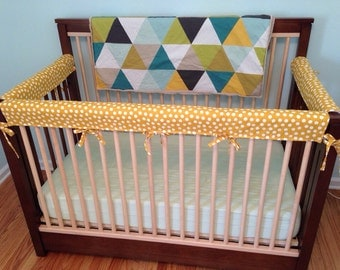 Reserved for Joanne -- Crib Guards -- 3pc Custom Crib Rail Teething Guards for Baby/Toddler in red buffalo check fabric