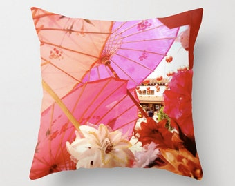 Pink Orange Sofa Pillow, Paper Parasol Accent Pillow, Chinatown Throw Pillow Cover, 18x18 22x22 Decorative Pillow Cushion