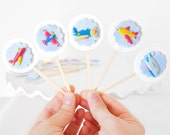 Airplane Cupcake Toppers Colorful Birthday Party Decor for Boys or Girls, Baby Showers or Parties Set of 12