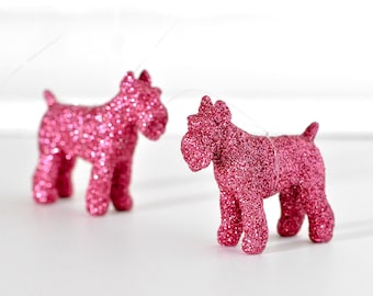 Schnauzer Ornaments in Pink Glitter.Perfect Hostess Gift. Mini Puppy Dog Nursery Decor. Gift Set of 2. Stocking Stuffers for Him, Her, Kids.