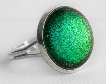 Emerald City Ring in Silver - Shimmery Green Glitter Cocktail Ring