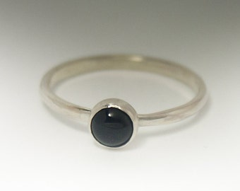 Black Onyx Ring - Sterling Silver Stacking Black Onyx Ring - 5mm stone