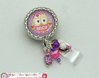 Nicu Owl Retracactable Badge Reel in Purples - Nicu Bage Clips - Medical ID Holders - Beaded Badge Reels - Designer ID Holders - Fun Badges