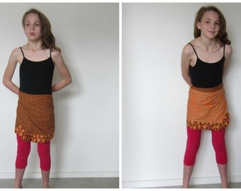 Reversible girls wrap skirt, ecofriendly upcycled clothes golden brown, funky orange lining, two skirts for one, tie waist wraparound skirt,