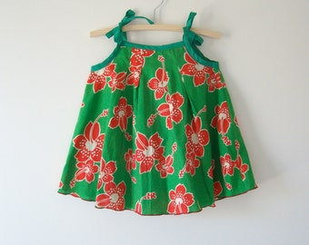 Red and Green girls summer cotton dress, swing dress trapeze style tie top Christmas dress sunfrock, size 3, tropical print, upcycled fabric