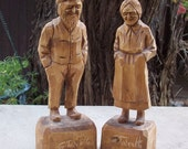 Hand Carved Wood Man and Woman Figurines by Gaston Turcotte of Quebec Canada