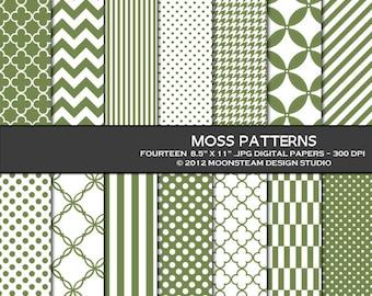 Moss green digital paper, moss green digital scrapbook paper, moss green digital backgrounds, 8.5x11 or 12x12 or A4