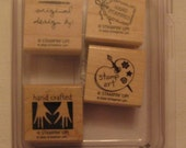 Handmade with Love II Stampin' Up set of 4 wood mounted rubber stamps