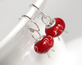 Sterling Silver Wire Earrings, Large Bead Jewelry, Wire Work Designs, Red Sterling Earrings, Red Floral Beads, Wire Earring, Wire Jewelry